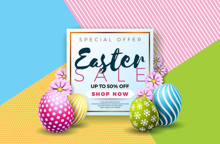 Easter Sale Illustration with Color Painted Egg and Typography Element on Abstract Background. Vector Holiday Design Template for Coupon, Banner, Voucher or Promotional Poster. Ilustração