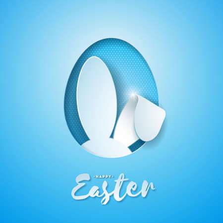 Vector Illustration of Happy Easter Holiday with Rabbit Ears in Cutting Egg and Typography Letter on Blue Background. International Celebration Design for Greeting Card, Party Invitation or Promo Banner 일러스트