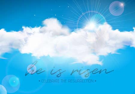 Pasen-Vakantieillustratie met wolk op blauwe hemelachtergrond. Hij is gerezen. Het vector christelijke religieuze ontwerp voor opstanding viert thema.