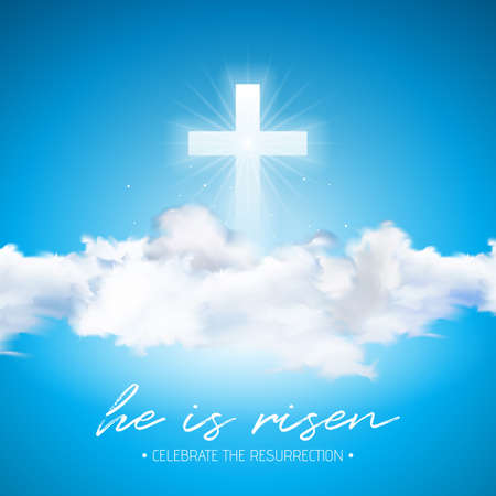 Easter Holiday illustration with cross and cloud on blue sky background. He is risen. Vector Christian religious design for resurrection celebrate theme.
