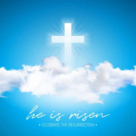 Illustrazione di festa di Pasqua con croce e nuvola su sfondo blu cielo. È risorto. Il disegno religioso cristiano di vettore per la risurrezione celebra il tema. Vettoriali