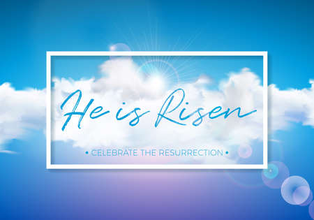 Easter Holiday illustration with cloud on blue sky background. He is risen. Vector Christian religious design for resurrection celebrate theme Stock Illustratie