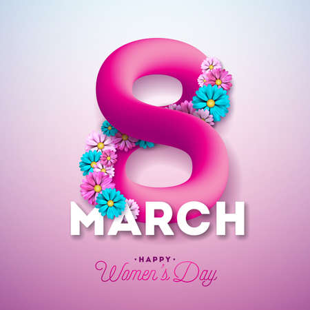 Happy Womens Day Greeting Card Design. International 8 March Holiday Illustration with Shiny 3d Eight on Pink Background. Vector Template.. Illustration