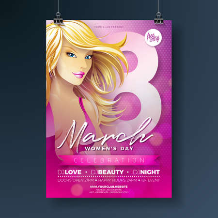 Womens Day Party Illustration with Sexy Blondie Girl and 8 March Typography on Pink Background. International Female Holiday Design for Celebration Poster, Banner or Invitation.