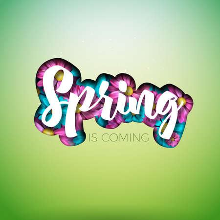 Spring nature design with beautiful colorful flower on clean background. Vector floral design template with typography letter.
