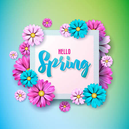 Spring nature design with beautiful colorful flower on clean background. Vector floral design template with typography letter. Foto de archivo - 96406992