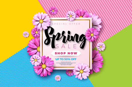Spring sale background design with beautiful colorful flower. Vector floral design template for coupon, banner, voucher or promotional poster.