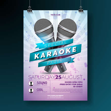 Vector illustration on a Karaoke Party theme with microphones and ribbon on violet background