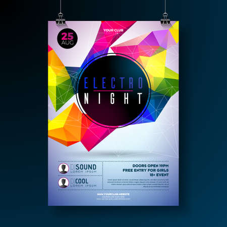 Night dance party poster design with abstract modern geometric shapes on shiny background. Electro style disco club template for abstract music event invitation or promotional banner