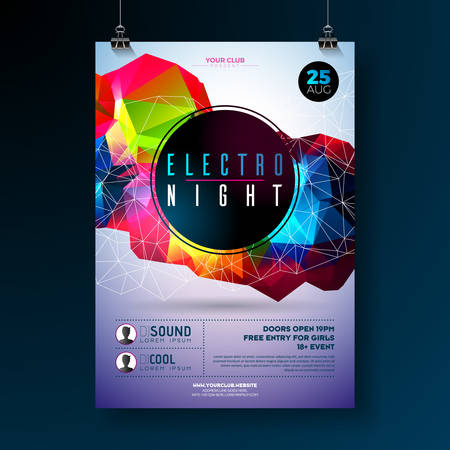 Night dance party poster design with abstract modern geometric shapes on shiny background.