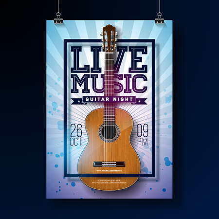Live music design with acoustic guitar on grunge background . Vector illustration Illustration