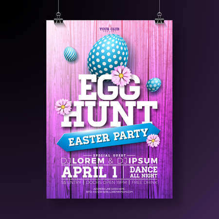 Vector Egg Hunt Easter Party Flyer Illustration with painted eggs, flowers and typography elements on vintage wood texture background. Spring holiday celebration poster design template.