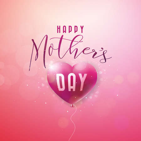 Happy Mothers Day Greeting card with flower on pink background. Vector Celebration Illustration template with typographic design.