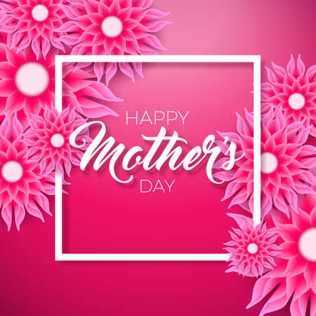 Happy Mothers Day Greeting card with flower on pink background. Vector Celebration Illustration template with typographic design. Stockfoto - 96872826