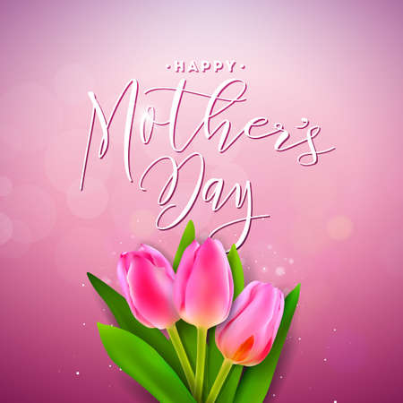Happy Mothers Day Greeting card with flower on pink background. Vector Celebration Illustration template with typographic design for banner, flyer, invitation, brochure, poster.