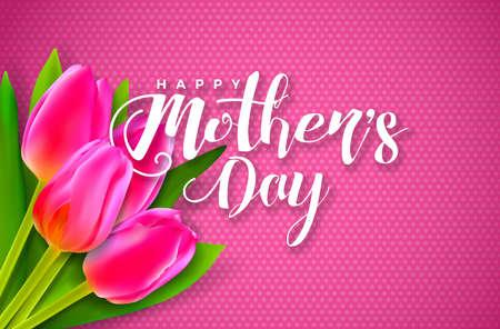 Tarjeta de felicitación feliz del día de madres con flores sobre fondo rosa. Plantilla de ilustración de celebración de vector con diseño tipográfico para banner, flyer, invitación, folleto, cartel.