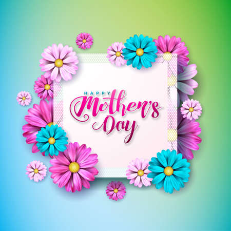 Happy Mothers Day Greeting card with flower on blue green background. Vector Celebration Illustration template with typographic design for banner, flyer, invitation, brochure, poster. Vettoriali