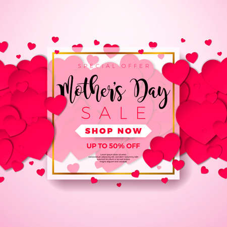 Happy Mothers Day Greeting card with hearth on pink background. Vector Celebration Illustration template with typographic design for banner, flyer, invitation, brochure, poster. Stock Illustratie