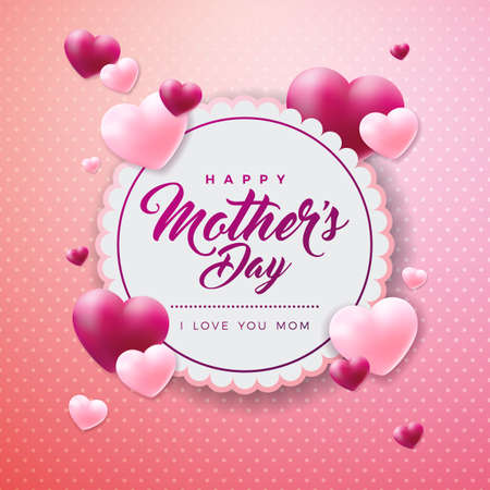 Happy Mothers Day Greeting card with hearth on pink background. Vector Celebration Illustration template with typographic design for banner, flyer, invitation, brochure, poster.  イラスト・ベクター素材