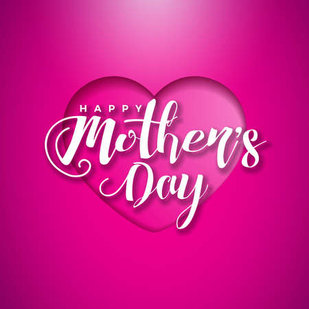 Happy Mothers Day Greeting card with hearth on pink background. Vector Celebration Illustration template with typographic design for banner, flyer, invitation, brochure, poster. Vettoriali