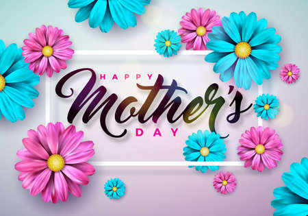 Happy Mothers Day Greeting card with flower on pink background. Vector Celebration Illustration template with typographic design for banner, flyer, invitation, brochure, poster Çizim