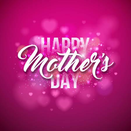 Cartolina d'auguri di felice festa della mamma con focolare su sfondo rosa. Modello di illustrazione vettoriale celebrazione con design tipografico per banner, flyer, invito, brochure, poster. Archivio Fotografico - 97280804