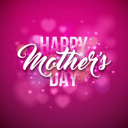Happy Mothers Day Greeting card with hearth on pink background. Vector Celebration Illustration template with typographic design for banner, flyer, invitation, brochure, poster. Stockfoto - 97280804