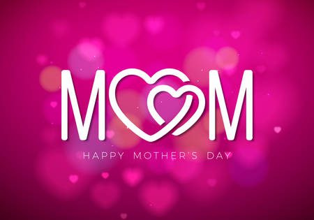 Happy Mothers Day Greeting card illustration with Mom typographic design and hearth symbol on pink background. Vector Celebration Illustration template for banner, flyer, invitation, brochure, poster.