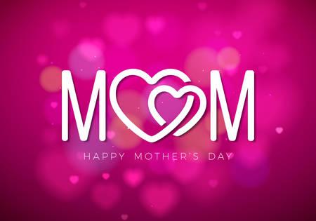 Gelukkige moeders dag wenskaart illustratie met moeder typografisch ontwerp en haard symbool op roze achtergrond. Vector viering illustratie sjabloon voor banner, flyer, uitnodiging, brochure, poster.