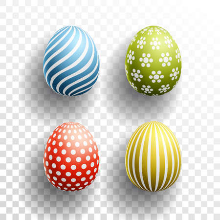 Happy Easter colored Eggs set with shadows on transparent background. Vector illustration for Spring Celebration with Easter Egg Hunt element Ilustração