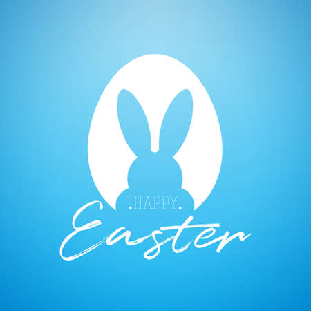 Vector Happy Easter Holiday Illustration with Rabbit Ears in Egg and Handwriting Typography Letter on Blue Background.