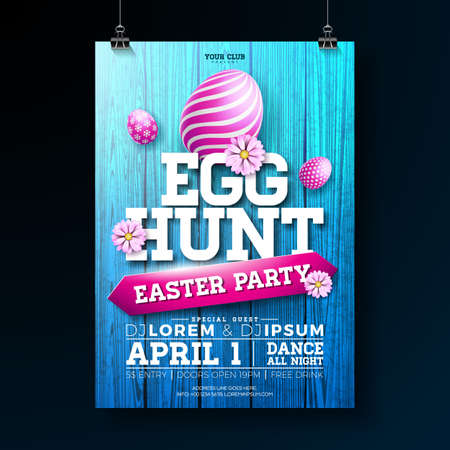 Vector Egg Hunt Easter Party Flyer Illustration with painted eggs, flowers and typography elements on vintage wood texture background.