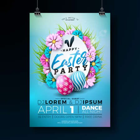 Vector Easter Party Flyer Illustration with painted eggs, flowers and typography elements on nature blue background. Spring holiday celebration poster design template.