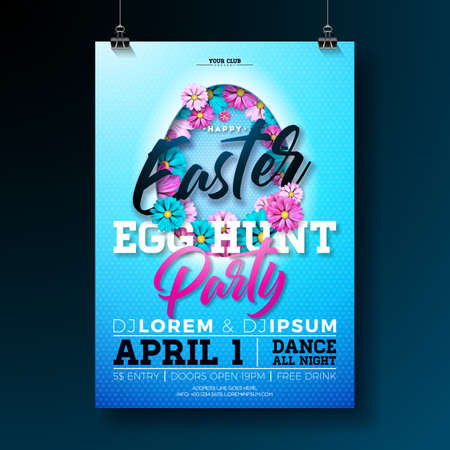 Vector Easter egg hunt party flyer illustration with flowers in cutting egg silhouette and typography elements on nature blue background. Spring holiday celebration poster design template.