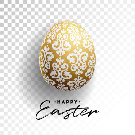 Vector Illustration of Happy Easter Holiday with Painted Egg on Transparent Background.