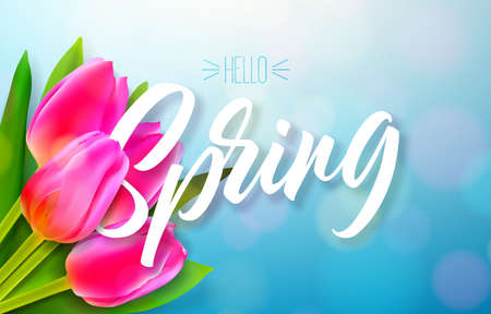 Hello spring nature design with beautiful tulip flower bouquet on shiny blue background. Vector floral design template with typography letter. Illustration