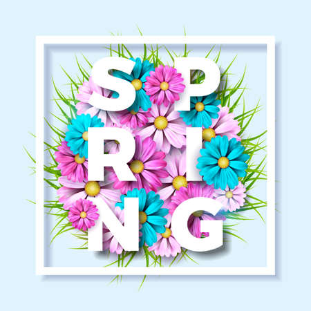 Spring nature theme with beautiful colorful flower on blue background vector illustration. Floral design template with typography letter.