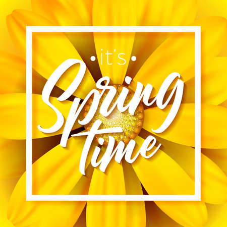 Its spring time vector illustration with beautiful colorful flower on yellow background. Floral design template with typography letter for greeting card or promotional banner.
