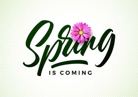 Vector spring is coming illustration with beautiful pink flower on white background. Floral design template with typography letter for greeting card or promotional banner.