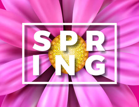 Vector spring illustration with beautiful colorful flower on Pink background. Floral design template with typography letter for greeting card or promotional banner.