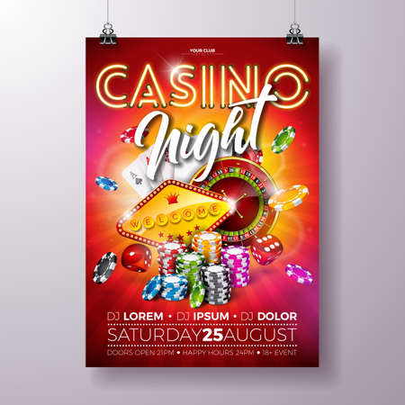 A Vector Casino night flyer illustration with roulette wheel and shiny neon light lettering on red background. Luxury gambling invitation poster template design concept.