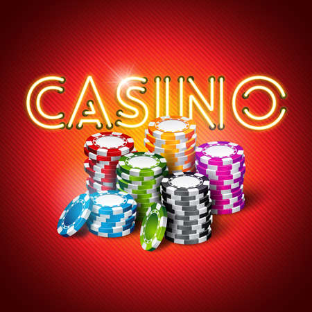Vector illustration on a casino theme with shiny neon light letter and colorful chips on red background. Gambling design for invitation or promo banner.