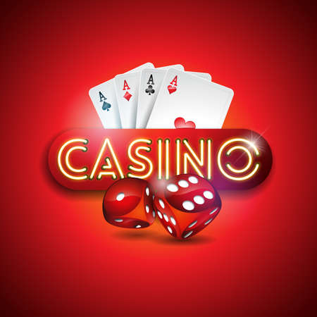 Vector illustration on a casino theme with shiny neon light letter and poker cards on red background. Gambling design for invitation or promo banner with dice.