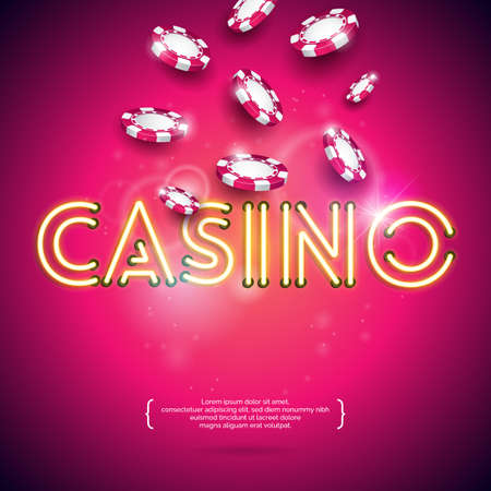 Vector illustration on a casino theme with shiny neon light letter and falling colorful chips on violet background. Gambling design for invitation or promo banner. Illustration