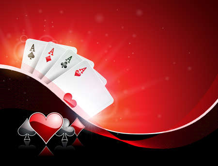 Vector illustration on a casino theme with playing suit and poker cards on red background. Gambling design for invitation or promo banner