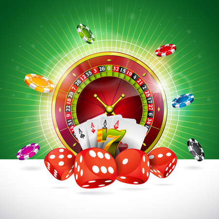 Casino Illustration with roulette wheel and playing chips on green background.