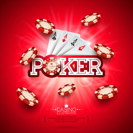 Casino illustration with poker card and playing chips on red background. Vector gambling design for invitation or promo banner. Illustration