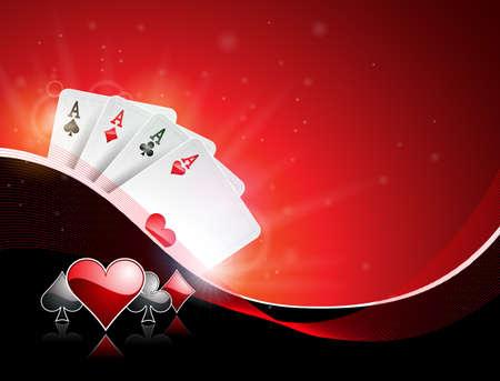 Vector Illustration auf einem Kasinothema mit dem Spielen von Anzugs- und Pokerkarten