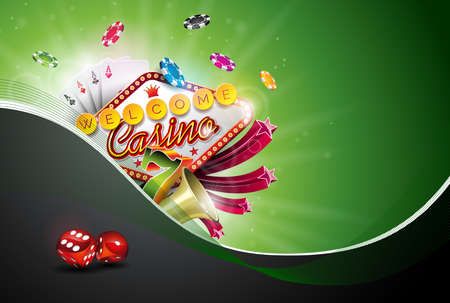 Casino Illustration with poker cards and playing chips Иллюстрация