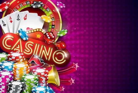 Ilustración del casino con la rueda de ruleta y jugando a las fichas sobre fondo violeta. Diseño de juego de vectores con cartas de póker y dados para invitación o banner promocional. Foto de archivo - 98042846